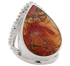 Pear Shaped Gemstone Sterling Silver Ring - RED JASPER
