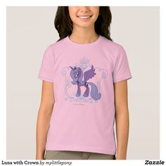Luna with Crown T-Shirt. Cute My Little Pony merchandise to personalize. #mylittlepony #mlp #giftideas #kids #birthday #personalize #shopping