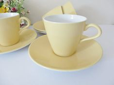 Poole vintage 1960's yellow tea cup and saucer, Yellow Poole pottery, Yellow teacup,Poole pottery cup, Summer yellow teacup