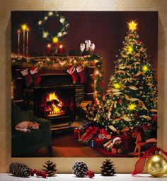 Flickering LED Lighted Christmas Eve Canvas Wall Art / $11.99