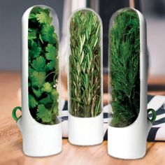 PREPARA HERB SAVER PODS 2.0, SET OF 3. Keep herbs or asparagus fresh longer with these innovative storage pods for bright, flavorful meals every time you cook.