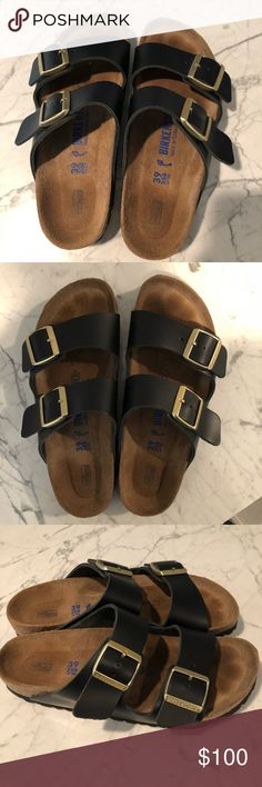 Black Birkenstock Sandals 39 Matte Only used once or twice See pics for great condition  Black, 39, 8-8.5 according to Birkenstock  website  Narrow style but are not super narrow shoes either--just more narrow than their wide style No trades Extremely comfortable Birkenstock Shoes Sandals