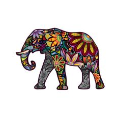 Colorful Paisley Elephant Decal