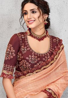 traditional peach silk georgette embroidered saree 11410 Saree Blouse Designs, Blouse Patterns, Dress Designs, Saree Styles, Blouse Styles, Peach Saree, Work Fashion, Women's Fashion, Beauty Full Girl