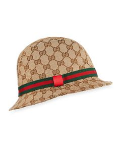 a1711d73 Gucci Kids' GG Supreme Canvas Bucket Hat w/ Web Hat Band Gucci Bucket Hat