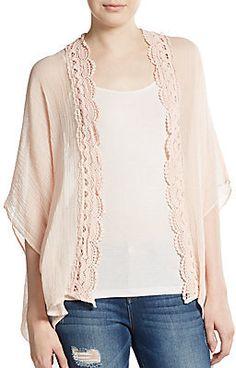 Lace-Trimmed Kimono Jacket