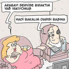 - Arabayı servise bıraktım yağ yakıyormuş. + Hadi bakalım darısı başına #karikatür #mizah #matrak #komik #espri #komik #şaka #gırgır #sözler #güzelsözler #komiksözler #serefefendiler