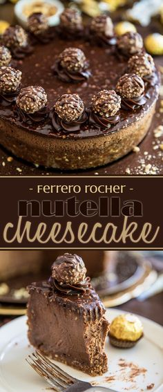 Devilishly rich, creamy, smooth and velvety. just one bite of this Ferrero… Devilishly rich, creamy, smooth and velvety. just one bite of this Ferrero Rocher Nutella Cheesecake will send you straight to seventh heaven! Nutella Recipes, Cheesecake Recipes, Dessert Recipes, Cheesecake Cake, Ferrero Rocher Cheesecake, Desserts Nutella, Cheesecake Squares, Dinner Recipes, Cheesecake Bites