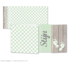 Studio Deksels - KAARTopMAAT - geboortekaartje - stoer - mint groen - voetjes - stijgerhout - ruitje