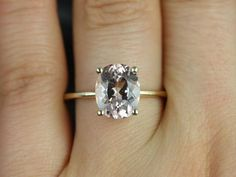 Thin Yellow Gold Band with Oval Morganite by RosadosBox.. would prefer Moissanite!