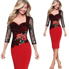 Women Dress 2017 Embroidered Floral Lace Sexy Party Evening Bridemaid Mother of Bride Special Occasion Embroidery Dress Vestidos Lace Party Dresses, Bodycon Dress Parties, Sexy Party Dress, Elegant Dresses, Sexy Dresses, Vintage Dresses, Evening Dresses, Party Wear, Sheath Dresses