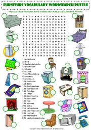 in my house furniture vocabulary wordsearch puzzle worksheet icon