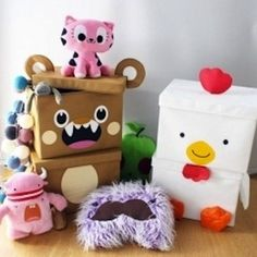 Help Your Kids Stay Organized This Summer | 4) With a little creativity, the simplest boxes can be turned into cute creatures that make cleaning up much more fun!