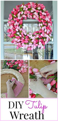 How to add a touch of spring to the front door with this easy DIY tulip wreath. #tulipwreath #wreath #springdecor #springwreath #spring #tulipwreathdiy