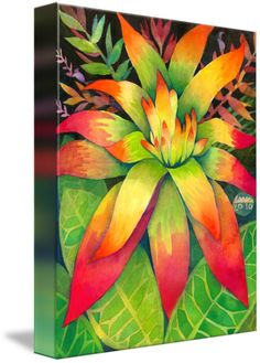"""""""Jungle Floral """" by Lauren McMullen, Montara, CA // Watercolor and gouache painting captures the vibrant colors of Costa Rican plant life. Warm up a room with this vivid burst of nature's color. Celebrate the amazing artistry of Mother Nature, and bring the joy of this tropical climate into your life! // Imagekind.com -- Buy stunning fine art prints, framed prints and canvas prints directly from independent working artists and photographers."""