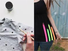 t-Shirts mit Textilfarbe aufpeppen - Punkte oder Streifen malen