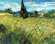Vincent van Gogh,  Green Wheat Field with Cypress, Saint-Rémy, June, 1889    van Gogh's Birthday it today - March 30, 1853.