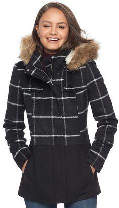 Juniors' Pink Envelope Faux-Fur Hood Anorak Jacket, Teens, Size: Large,  Black