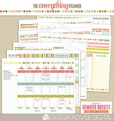 The Everything Planner - PDF file - LOVE this!!  It includes, weekly/monthly calendars and planners, shopping list, meal planners, etc.