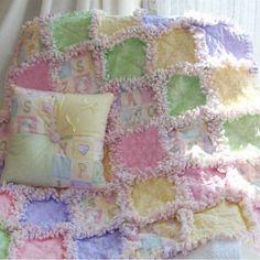 Pastel ABC Baby Rag Quilt