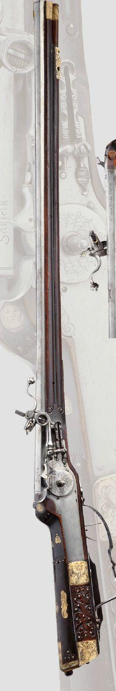 A Wheellock rifle, Hans Wohlfahrt of Saalfeld, dated 1683.