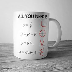 All You Need Is Love Math Mug These simple Mugs have a capacity of and are stackable for quick and easy use in a fast paced and busy environment. Made from high quality ceramic and these Mugs are fully vitrified for heat and shock. Cute Gifts, Diy Gifts, Funny Gifts, Diy Cadeau, Math Jokes, Algebra Humor, Love Math, Teacher Gifts, Math Teacher