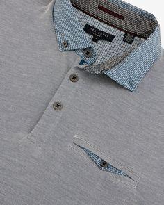 Woven collar polo shirt - Teal   Tops & T-shirts   Ted Baker ROW
