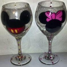 Mickey and Minnie Hand Painted Wine by BeautyBazaarBoutique