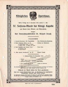 Concert Program Koningliches Opernhaus Berlin 1910