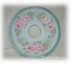 ceiling medallion hand painted hp pink rose shabby