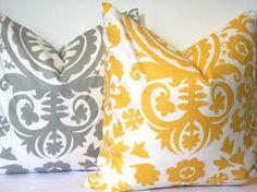 Set of 2 20x20 pillow covers. Premier Prints Suzani Yellow and Suzani Storm Grey design. FREE SHIPPING. $42.00, via Etsy.