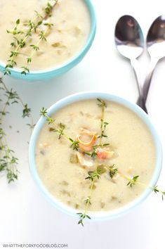 New England Clam Chowder - a classic made gluten free. Recipe from What The Fork Food Blog | @WhatTheForkBlog | whattheforkfoodbog.com