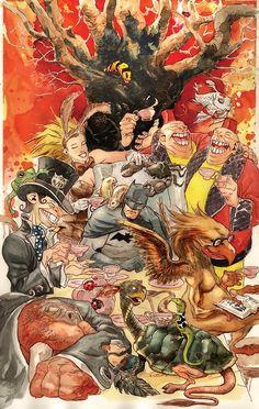 "artverso: "" Dustin Nguyen - Batman in Wonderland "" I Am Batman, Batman Art, Batman Stuff, Comic Book Covers, Comic Books Art, Dustin Nguyen, Hugo Strange, In The Pale Moonlight, Batman Universe"