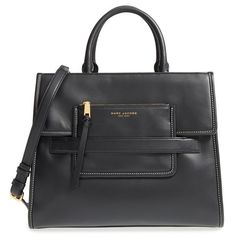 MARC JACOBS 'Madison North South' Leather Tote (2,230 SAR) ❤ liked on Polyvore featuring bags, handbags, tote bags, black, black leather purse, leather tote, leather tote bags, genuine leather tote and leather tote handbags