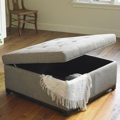 Use an outdoor fabric on ottoman to make it durable. Like the storage to hide the blankets away