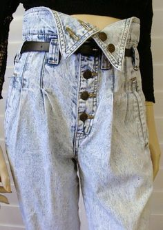 Limited Express, Acid Wash, Foldover Jeans - I'll bet they were tight-rolled at the bottom!
