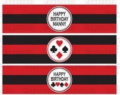 Printable DIY Red and Black Casino Night Poker Playing Card Theme Personalized Happy Birthday Water Bottle Labels