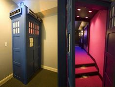 Doctor Who door idea! The Tardis door should lead to a movie room with every episode of Doctor Who on DVD. But the movie room should have surround sound and be able to tilt when the Tardis lurches tilts and falls Future House, My House, Hidden Rooms, Hidden Closet, Entertainment Room, Dr Who, My New Room, Home Theater, Theater Rooms