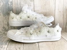 Hand Customised Wedding Trainers and Decoupage Shoes by Fromthespectrumuk Converse Wedding Shoes, Wedding Sneakers, Wedge Wedding Shoes, Custom Converse, Bride Shoes, Custom Sneakers, Custom Shoes, Designer Wedding Shoes, Open Toe Shoes