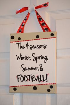 football signs on pinterest | ON SALE - Handpainted Canvas Football Season Sign - Black and Red. $10 ...
