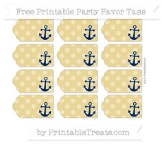 Free Metallic Gold Dotted Pattern Nautical Party Favor Tags