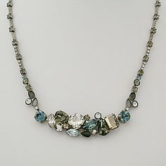 """Center Crystal Cluster Necklace. Sorrelli Pewter Collection. Something Blue for Brides as well as an accent to a """"T"""" and jeans."""