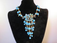 Miriam Haskell Robins Egg Blue Enamel & Cluster Bead Necklace