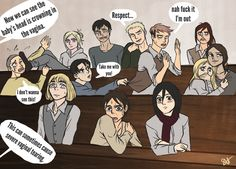 Ymir, Annie, and Mikasa are fine. Eren, Jean and Marco's reactions though! Armin, Eren X Mikasa, Attack On Titan Comic, Attack On Titan Ships, Attack Titan, Titan Manga, Aot Memes, Fandom Memes, Connie Springer