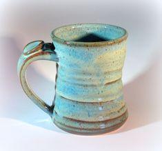 Large Pottery Coffee Mug, Handmade Stoneware Pottery, Turquoise Blue Glaze, Thumb Rest.