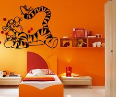 Cartoon Tigger with Butterfly Kids Room Nursery Animal Design Wall Mural Vinyl Decal Sticker M144 ** Check this awesome product by going to the link at the image.