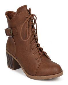 Wild-Diva-Essence-50-Leatherette-Round-Toe-Buckle-Chunky-Heel-Combat-Boot-Size