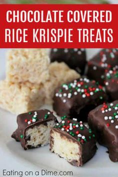 Try this delicious Chocolate Covered Rice Krispie Treats recipe. These chocolate dipped rice krispie treats are perfect for any Christmas cookie exchange. #eatingonadime #desserts #chocolate #ricekrispies #dessertrecipes #easydessert #treats #easytreats Köstliche Desserts, Holiday Baking, Christmas Desserts, Holiday Foods, Christmas Recipes, Christmas Ideas, Merry Christmas, Dessert Recipes, Reis Krispies