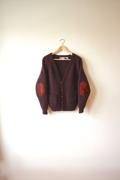 Ribbed Wool Cardigan Suede Elbow Pads Red Purple by flickaochpojke, $69.00