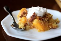 {Cake Mix + Soda} Peach Cobbler   1 box cake mix {I used yellow… white or butter also work. Cake mixes without pudding work better} 1 12-oz can of lemon lime soda about 5-6 cups fresh peaches {fresh or canned} Use about two 24-oz cans drained peaches 2 TBSP cinnamon